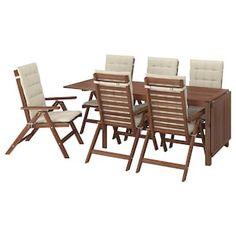 ÄPPLARÖ Mesa+6 sill reclin ext, tinte marrón - IKEA Ikea Friheten, Table Furniture, Outdoor Furniture Sets, Wood Supply, Table Extensible, Drop Leaf Table, Table Sizes, Parasol, Seat Pads