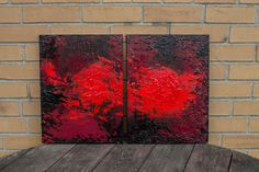 """Please note:    Shipping is FREE within North America.    Title: Red No. 1    Medium: Acrylic    Support: Stretched Canvas    Size: 24"""" x 16""""ready to hang    Multiple layers of color, textured heavy bodied acrylic.    Protective gloss varnish is applied to protect the painting from UV rays and dust.    The sides of the canvas are painted so it's ready to hang. No framing necessary.    Painting is signed and dated by the artist.        Copyright Notice:    Nicole Klüg holds exclusive…"""