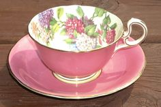 Vintage Aynsley Bold Pink Bone China Tea Cup and Saucer Set