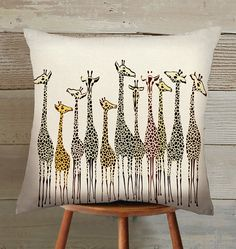 giraffe Suede Pillow Cover handmade by Hellominky on Etsy Giraffe Decor, Giraffe Art, Designer Pillow, Pillow Design, Cushion Covers, Pillow Covers, Soft Furnishings, Decorative Pillows, Sewing Projects