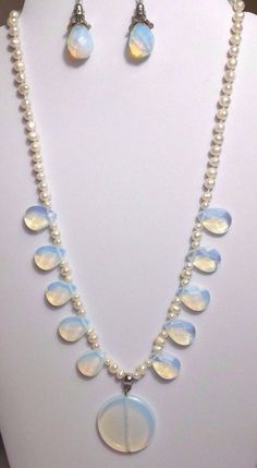 Opalite Moonstone & Pearl Necklace & Earrings Set #Therapy #Healing Chakra #Jewelry