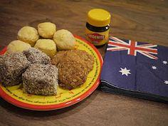 A little taste of Australia - scones, Anzac biacuits, Lamingtons, Vegemite and Aussie flag serviette!