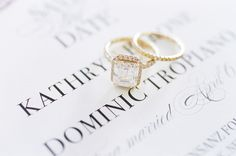 Cushion-cut halo setting gold diamond ring: http://www.stylemepretty.com/collection/4502/ Photography: Alicia Swedenborg - http://www.aliciaswedenborg.com/