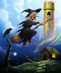 Faerie Island junior novel. The wicked witch Drucilla is turning her gloomy hovel into a golden tower.