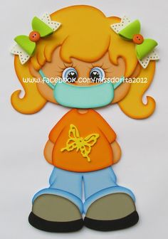 Miss Dorita: Niña con Barbijo Mascarilla Preschool Learning Activities, Flower Crafts, Holidays And Events, Ideas Para, Coloring Books, Diy And Crafts, Baby Kids, Baby Shower, Classroom Displays