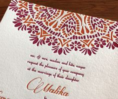 Indian letterpress wedding invitation design gallery: 'Malika' by Invitations by Ajalon. Indian Wedding Invitation Cards, Indian Wedding Cards, Letterpress Invitations, Letterpress Wedding Invitations, Wedding Invitation Design, Wedding Stationery, Party Invitations, South Asian Wedding, Wedding Card Design