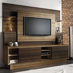 Estante Home para TV até 55 Polegadas Aron Linea Brasil Capuccino Wood / Ébano - Móveis para Sala de Estar - Magazine Luiza Home Theater Design, Tv Wall Design, Wall Unit Designs, Tv Unit Furniture Design, Tv Unit Design, Tv Room Design, Living Room Tv