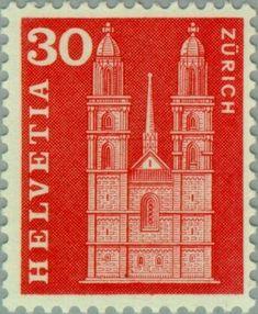 Znaczek: Grossmunster in Zurich (Szwajcaria) (Postal history motives and… German Stamps, Zurich, Postage Stamps, Switzerland, Taj Mahal, History, Gallery, Door Bells, Swiss Guard