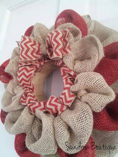 Christmas Wreath Christmas Burlap Wreath by SunDropBoutique