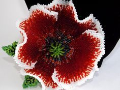 poppy brooch. How to make a Beaded flowers / Схемы цветов из бисера