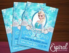 Frozen Elsa Invitación Imprimible por EspiralInvitations en Etsy