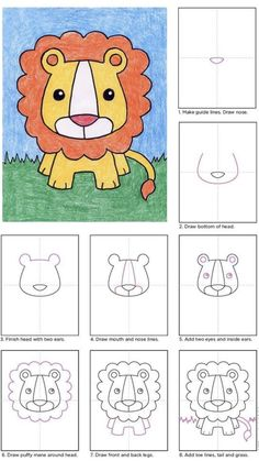 Draw a Baby Lion · Art Projects for Kids Drawing Lessons For Kids, Art Drawings For Kids, Animal Drawings, Easy Drawings, Art Lessons, Art For Kids, Drawing For Children, Lion Drawing, Drawing Step