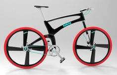 Tobias-Bernstein concept for a belt drive foldable city bike with knobby tires, disc brakes, and front suspension.