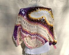 Shrug bolero done in crochet cotton wool and silk and fork