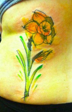 Yellow Daffodil Tattoo images of Yellow Daffodil Tattoo pics, wallpapers, photos of Yellow Daffodil Tattoo Body Art Tattoos, New Tattoos, Tatoos, Buttercup Tattoo, Daffodil Flower Tattoos, Mum Tattoo, Skin Art, Daffodils, Tattoo Images