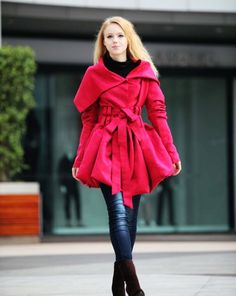Rose Red Hooded Jacket Fluffy Faux Suede Leather Hoodie Winter Coat long sleeves custom Women Tunic - NC266 #leather #leggings #tights www.loveitsomuch.com