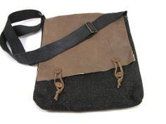 jute & leather messenger bag