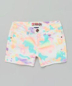 Look at this #zulilyfind! White Tie-Dye Shorts - Girls by Squeeze #zulilyfinds