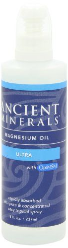 NEW Ancient Minerals PURE Ultra Magnesium Oil Spray with OPT MSM - 8oz Bottle