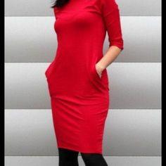SUKIENKA DRESOWA OŁÓWKOWA Czerwona High Neck Dress, Dresses, Fashion, Turtleneck Dress, Vestidos, Moda, Fashion Styles, Dress, Fashion Illustrations