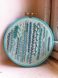 """nontraditional embroidered """"samplers""""... I've learned to knit, to crochet and to sew; I feel like brushing up on embroidery should be next."""