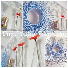paper straw wreath.