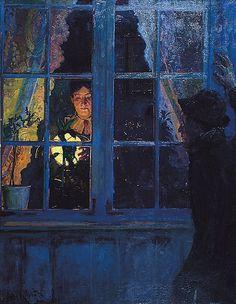 In the lamplight, 1885, Eyolf Soot. Norwegian (1858 - 1928)