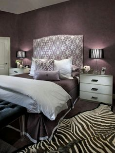 Purple with white and black touches glamorous bedroom