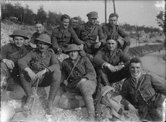 MINISTRY INFORMATION FIRST WORLD WAR OFFICIAL COLLECTION (Q 1151)   Officers of the 1st Wiltshire Regiment after their return from the fighting at Thiepval; Bouzincourt, September 1916