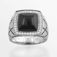 Sterling silver .37-ct. t.w. diamond & onyx ring - men on shopstyle.com