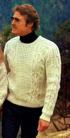 """Classic fisherman cable knit pullover sweater in mens sizes, with a crewneck and saddle style shoulders.  Sizes: Instructions are for size Small. Changes for Medium, Large and Extra Large are in parentheses. Finished Measurements: Chest 38"""" (41-44-47)""""  Materials: Knitting worsted weight yarn (100-gr) 8 (8-9-10) skeins Knitting needles sizes 6 and 8 or size to give gauge 2 cable needles (cn)  Gauge: 5 ½ sts = 1 inch; 7 rows = 1 inch  PLEASE NOTE: that you are purchasing an instant d..."""