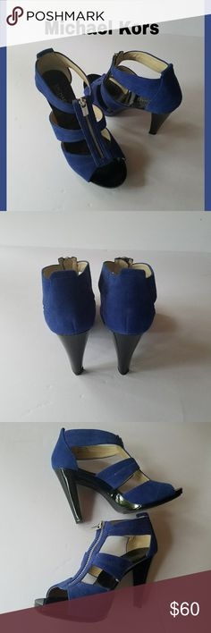 """MK Berkeley Blue T-Strap Sandals Blue suede leather Michael Kors Berkeley t-strap sandals with 3.5"""" heels Gold Hardware zipper. In very good condition with exception of bottom of one shoe has some enamel scraped off as shown in picture but cannot be seen when wearing. Michael Kors Shoes Heels"""