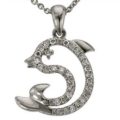 """Dolphin Pendant Covered In Pave Diamonds 14Kt -  This diamond dolphin pendant is adorned with 0.25cts of brilliant round diamonds.  This petite dolphin pendant come with its own 16"""" chain. Dolphins have their own interesting symbolism. With excellent communication skills, dolphins have a strong sense of community and symbolize trust, playfulness and harmony with others.  When we make our dolphin pendants we are careful to produce pieces with a heavy metal weight, which insures that they..."""