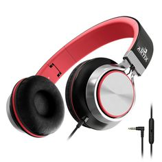 Artix Foldable Headphones with Microphone and Volume Control, NRGSound On-Ear Stereo Earphones, Great for Kids/Teens/Adults (Black/Red) - Gran Iphone Headphones, Kids Headphones, Headphones With Microphone, Sports Headphones, Bluetooth Headphones, Compact, Smartphone, Gaming Headset, Phone Accessories