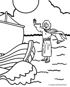 Jesus Walks On Water- Coloring Page