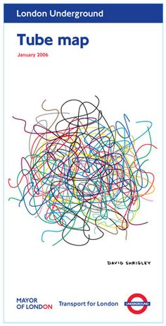 Lijnwerking: Het effect van de lijnen in een compositie. Hier zie je een kluwen lijnen. Het effect is chaos en onrust. Het is een knipoog naar de efficiëntie van de Londense metrokaart.