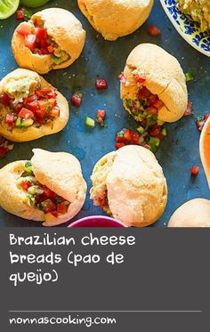Brazilian cheese breads (pao de queijo) | More of a puff than a bread, these light, cheesy bites originated in the central Brazilian state of Minas Gerais, but have since become ubiquitous throughout the country. They are traditionally served for breakfast, as an afternoon snack, and are also eaten as an accompaniment to any main meal, so consider pairing this recipe with some barbecued meat. Breakfast Meals, Delicious Breakfast Recipes, Yummy Food, Barbecue Recipes, Meat Recipes, Snack Recipes, Brazilian Cheese Bread, Meat Meals, Puff Recipe