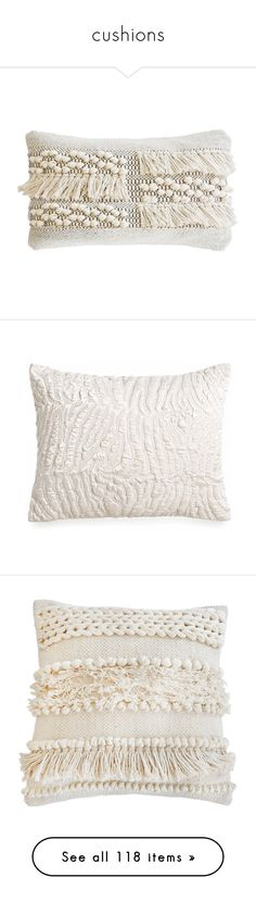 """""""cushions"""" by dodo85 on Polyvore featuring home, home decor, throw pillows, beige throw pillows, pom pom throw pillow, cream throw pillows, pom pom at home, handmade home decor, ivory and satin throw pillows"""