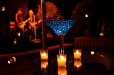 Lighted martini glass centerpiece