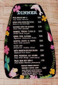 An original hand-painted Tahitian Terrace menu from the 1960s Adventureland restaurant | Miehana via Flickr