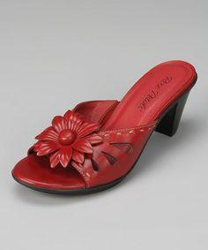 Love this Red Flower Sadie Leather Slide on #zulily! #zulilyfinds