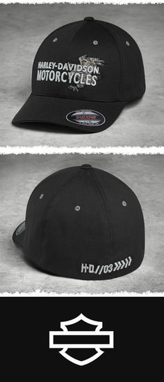 The Flexfit® interior comfort stretch band is a secret weapon against squeezing, pinching hats. | Harley-Davidson Men's Embroidered Eagle Stretch Cap