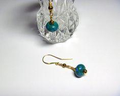 Dark Teal Lampwork Bead Earrings Dark Teal, Bead Earrings, Lampwork Beads, Dangles, How To Make, Gold, Stuff To Buy, Jewelry, Jewlery