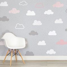 pink-and-grey-clouds-pattern-nursery-square-wall-mural - Modern Baby Wallpaper, Room Wallpaper Designs, Baby Girl Nursery Wallpaper, Pink And Grey Wallpaper, Cloud Wallpaper, Wallpaper Murals, Photo Wallpaper, Grey Girls Rooms, Girls Room Paint