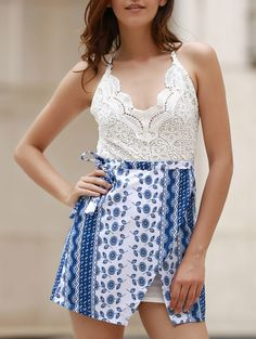 Lace Top Backless Tribal Print Dress BLUE AND WHITE: Mini Dresses | ZAFUL