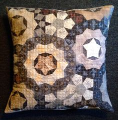 Pillow cover made with Japanese taupe fabrics. Pattern is the Passacaglia quilt…