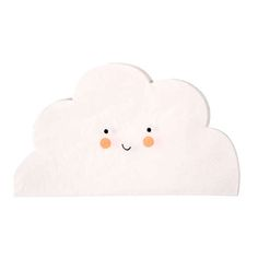 """7"""" SMALL CLOUD NAPKINS - These delightful napkins come in the shape of clouds and are finished with a cute smiley face. Boutique style partyware by Meri Meri. Pack contains 20 napkins. Napkin size: (folded) approx. 4 x 6 inches."""