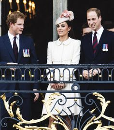 Prince Harry, Catherine, Duchess of Cambridge and Prince William, Duke of Cambridge attend a reception at the Grand Place on August 4, 2014 in Mons, Belgium.