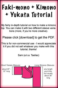 Tutorial:Draft a Kimono Patten by `taeliac on deviantART- I have made this before out of black lace, and it remains one of my favorite items of clothing. I would love a version made in a pretty cotton-silk blend for getting ready day-of.