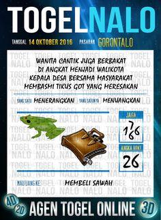 Prediksi Jitu Togel Online Live Draw 4D TogelNalo Gorontalo 14 Oktober 2016